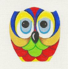 Raymond Crawford Bright Colors Owl handpainted HP Needlepoint Canvas Ornament
