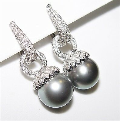 13MM Tahitian Pearl 3.07CT Diamond Dangling Earrings 18K gold