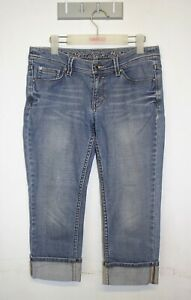 Esprit-Capri-Jeans-Size-8-Mid-Rise-White-Wash-Stretch-Denim
