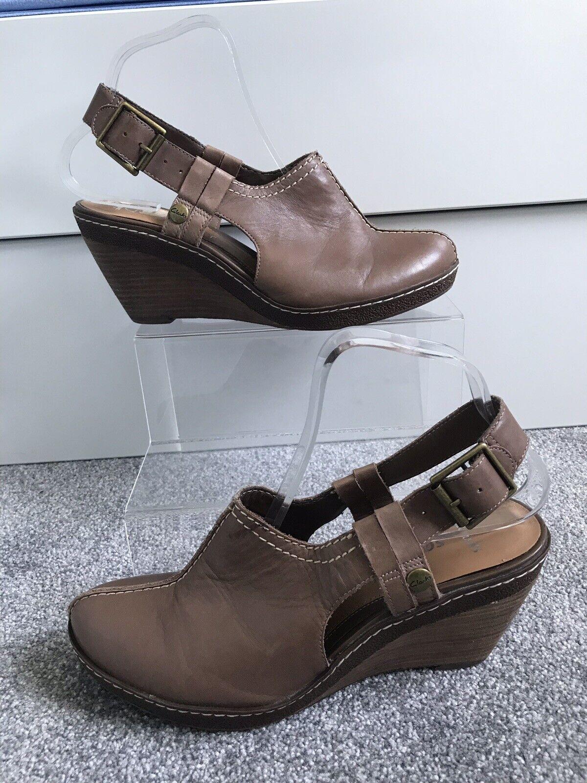 Clarks Softwear Slip On Wedges Clogs Comfort uk 6 Sling Back Brown Tan Holiday