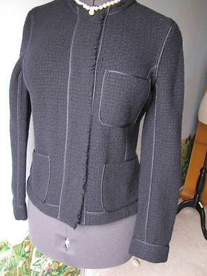 Vince Knit Dark Blue Fitted Wool Long Sleeve Jacket Size 10 New with Ticket