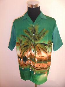 vintage BROTHER Hawaii Hemd surfer party shirt 90s oldschool 90er Jahre grün L