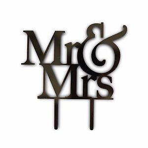 MR and MRS Black Acrylic Cake Topper Laser Cut Bride and Groom