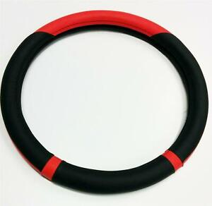 Steering-Wheel-Cover-Genuine-Red-Black-Leather-Fit-Glove-For-Vauxhall
