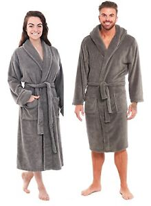 Fleece Gown Accappatoio Hooded Dressing Ladies Soft Soft Mens Pockets New Unisex EpAIwqnE