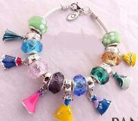 Disney Princess Fairy Dress Silver Charm Bead Fit 925 European Bracelet Necklace