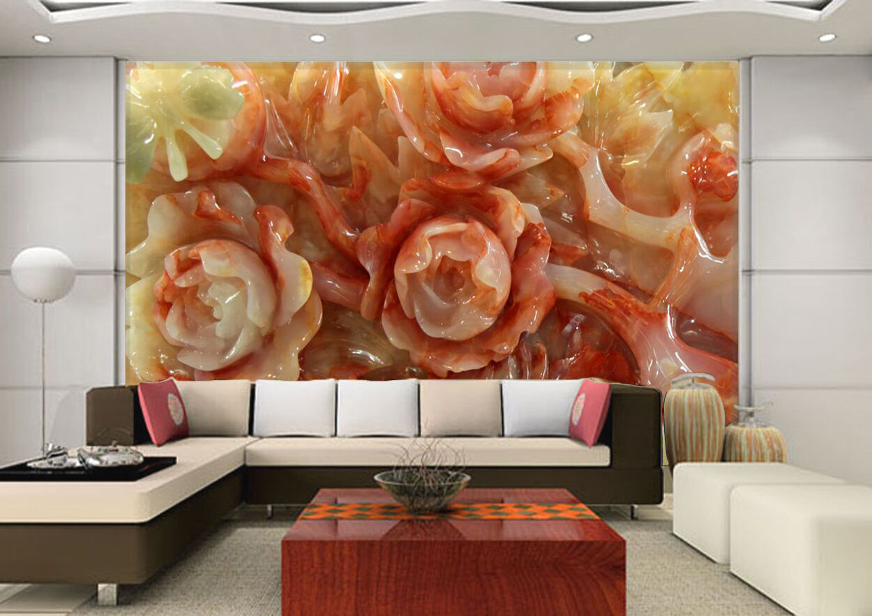 3D Flowers, jade 122 Wall Paper Wall Print Decal Wall Deco Indoor Wall Murals