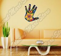Hand Palm Abstract Floral Ornament Colorful Wall Sticker Interior Decor 20x25