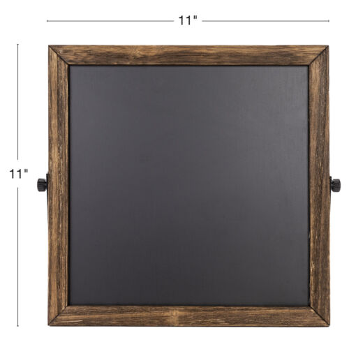 Rustic Chalkboard Sign Wooden Frame with Adjustable Stand Reversible 11x11