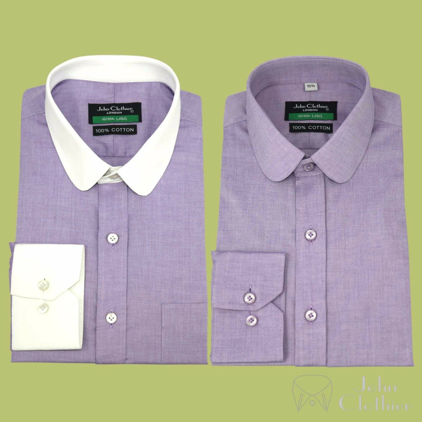 Herren shirt Penny collar Bankers Club Lilac lila Milange Office Round for Gents