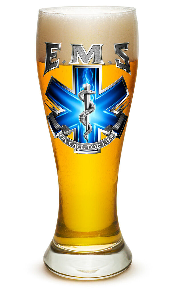 EMS-  ON CALL FOR LIFE - LARGE  PILSNER BEER GLASS