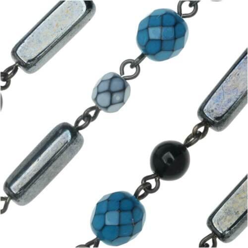 Blue /& Hematite Mix Gun Metal by the Inch Bead Czech Glass Chain by Beadlinx