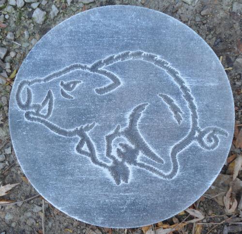 "Wild hog pig plaque mold plastic garden casting mould  10/"" x 3//4/"" thick"