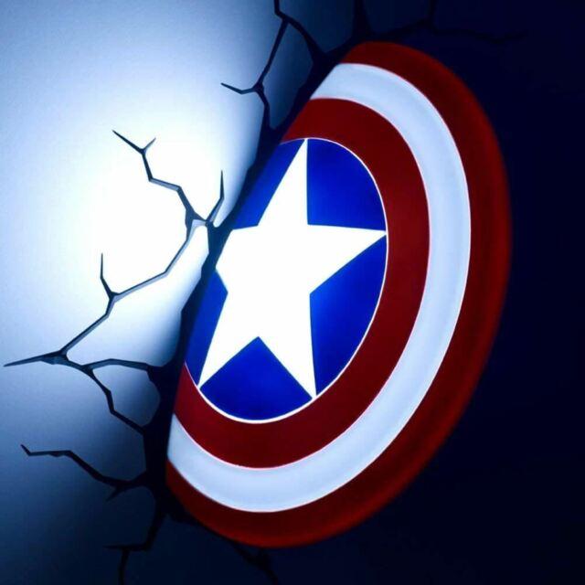 Marvel Capitán América Escudo 3D Pared Luz Nocturna Lámpara de Dormitorio -