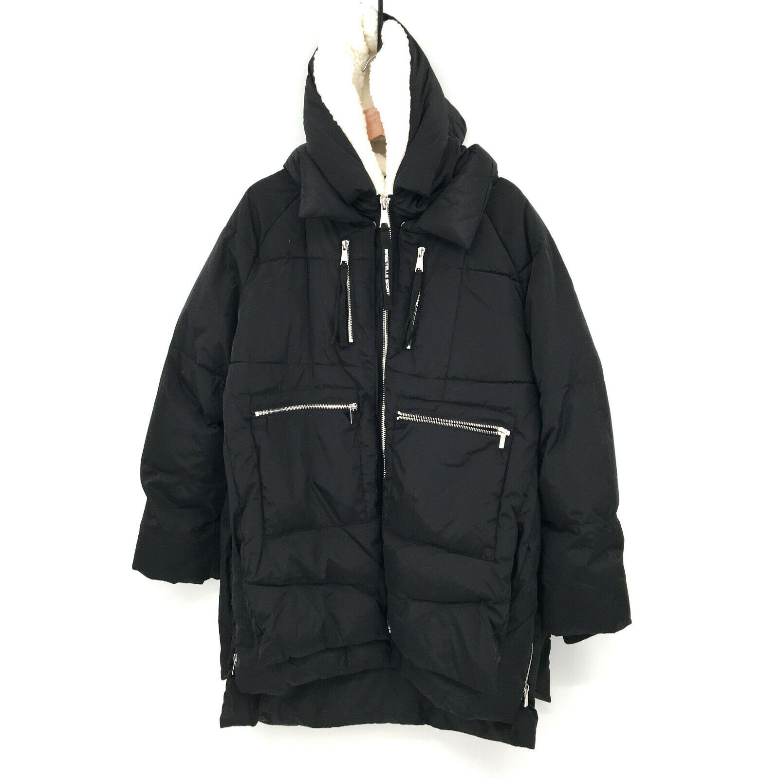 NWT Bagatelle sport Faux Shearling Lined Parka Jacket black puffer quilt long L
