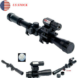 US-4x20-Rifle-Optics-Scope-Rail-Mount-Tactical-Crossbow-With-Red-Dot-Laser-Sight