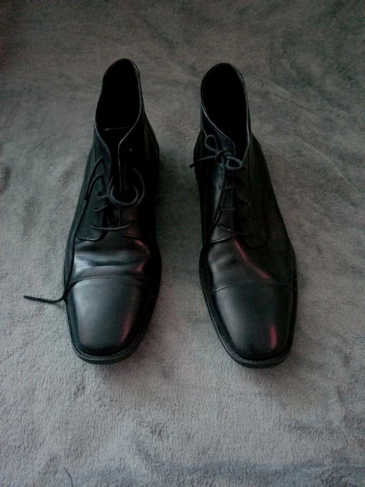 Men's Johnston & Murphy Black Cap Toe Lace-Up Short Boot size 9.5D VGUCsb