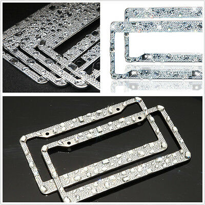License Plate Frame Pure Handmade Waterproof Glitter Rhinestones Diamond Crystal