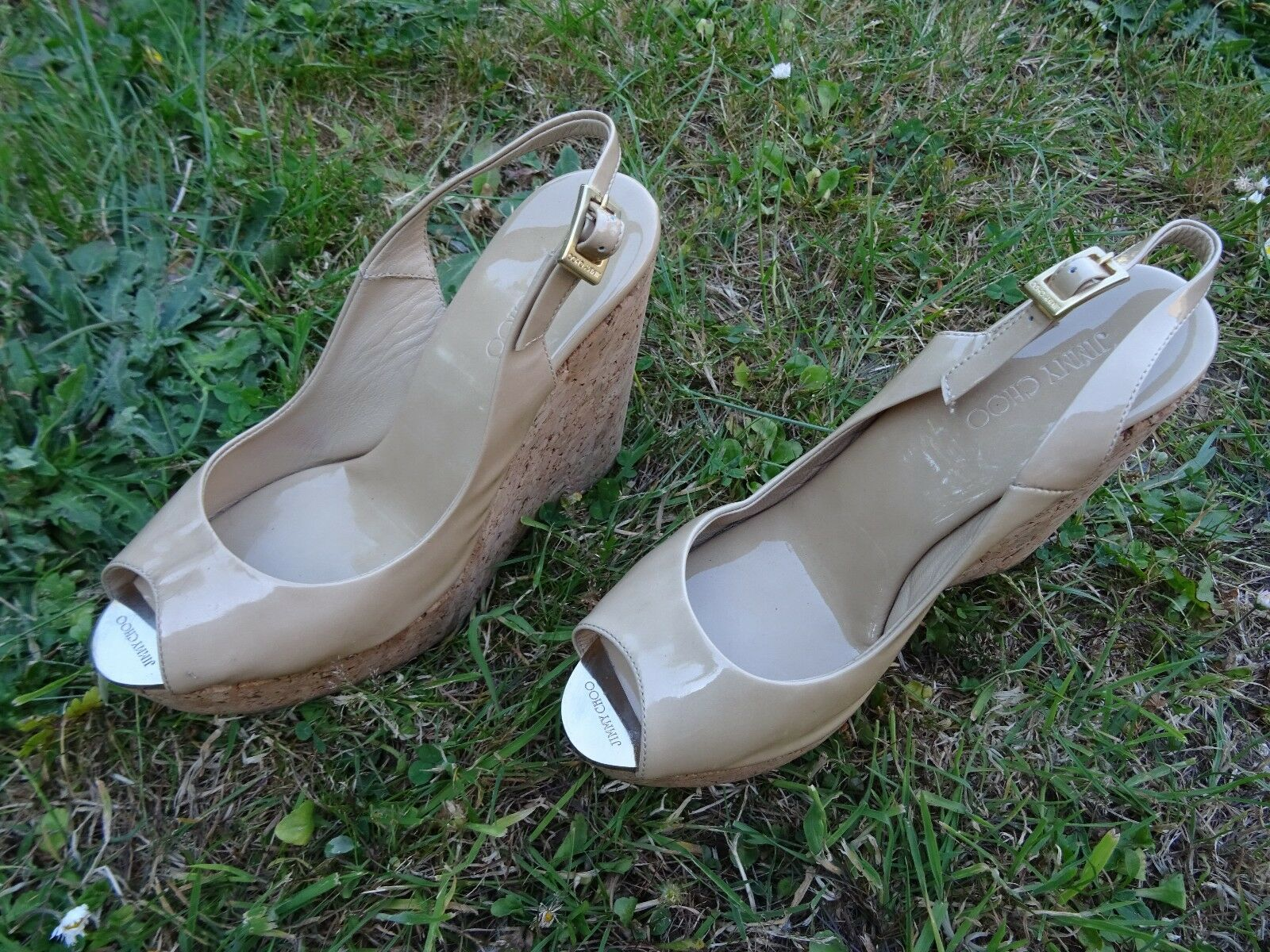 Jimmy Choo PROVA Nude Patent Leather Sling Back Peep Toe Wedges Uk 2 Eur 37