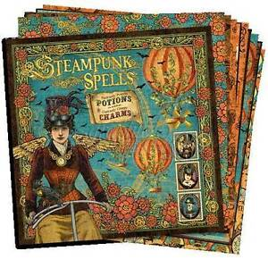 GRAPHIC-45-034-STEAMPUNK-SPELLS-034-12X12-PAPER-12-SHEETS-RETIRED-SCRAPJACK-039-S-PLACE