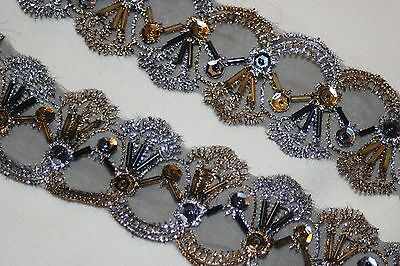 """1 yard Black Gold Pewter embroidered organza Trim sequins beads 1.625"""" wide r026"""