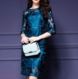 Womens-Cheongsam-Slim-Midi-Embroidery-Evening-Dress-Zip-Fashion-Chinese-Skirt-sz