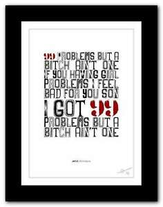 Image Is Loading Jay Z 99 Problems Song Lyrics Typography Poster