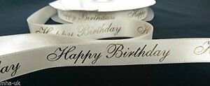 Luxurious-HAPPY-BIRTHDAY-22mm-cream-gold-satin-gift-cake-decorating-ribbon