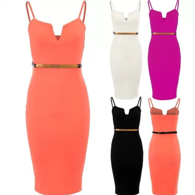 WOMENS LADIES STRAPPY V FRONT GOLD BELTED CAMI STRETCH PENCIL BODYCON MIDI DRESS