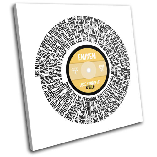 Eminem Lose Yourself Record Vinyl Song Lyric Canvas Wall Art Picture Print