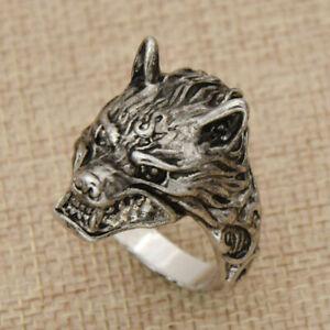 Details zu Viking Wolf Kopf Ring Herren Schmuck Size 8 14 Wikingerschmuck Vintage Punk Stil