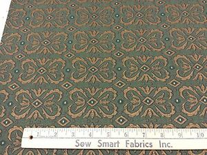 Green-amp-Copper-Scroll-Box-Design-Upholstery-Fabric-56-034-W-3-yd-piece-Can-CTO