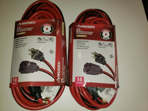 2 x Husky In//Outdoor 25ft Kink Free Flexible Extension Cord 14 Gauge