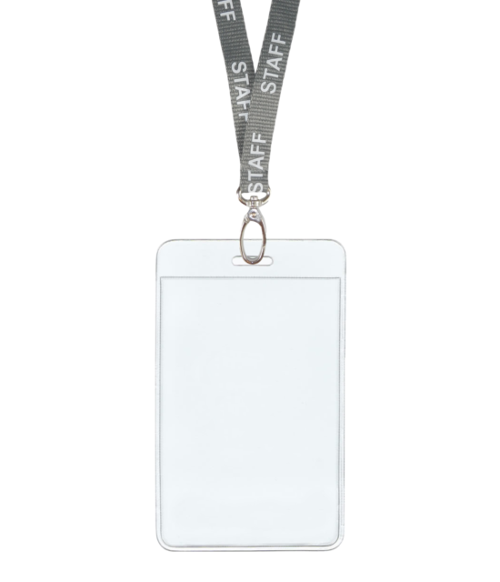 Silber Grau Mitarbeiter Id Band Hals Clip Horizontal Abzeichen Kartenfach Tasche