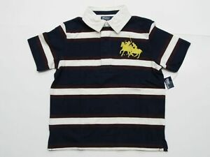 New-tag-NWT-Boys-RALPH-LAUREN-Navy-Blue-White-Short-Sleeve-POLO-Shirt-6-Big-Pony