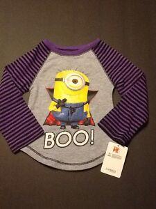 Tops & T-shirts Girls Despicable Me Minion Halloween Shirt Size 3t New Polka Dot Long Sleeves