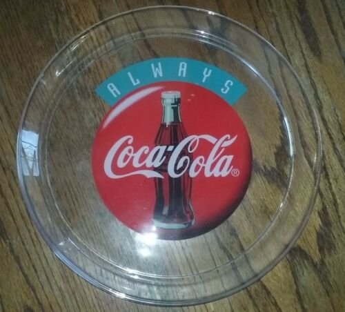 "13"" CocaCola Company HeavyDuty Glass Platter Tray ALWAYS COCACOLA"