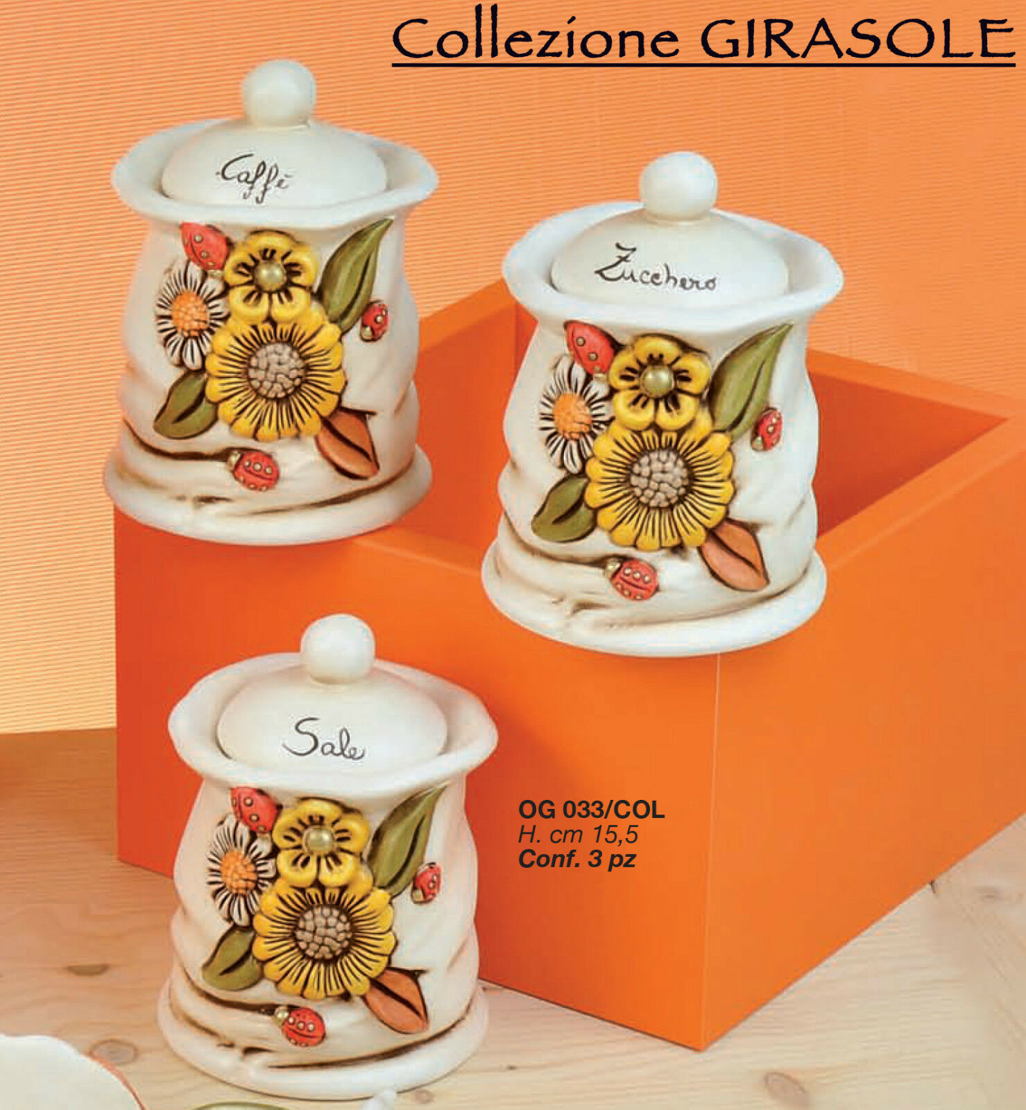 Tris Barattoli sale, zucchero, caffè in ceramica di Capodimonte dipinti a mano