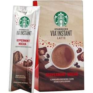 Details About Starbucks Via Instant Latte Peppermint Mocha Packets