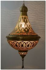 """Handcrafted 24"""" Tall Moroccan Hanging Brass Lamp Light Lantern Ceiling Fixture"""