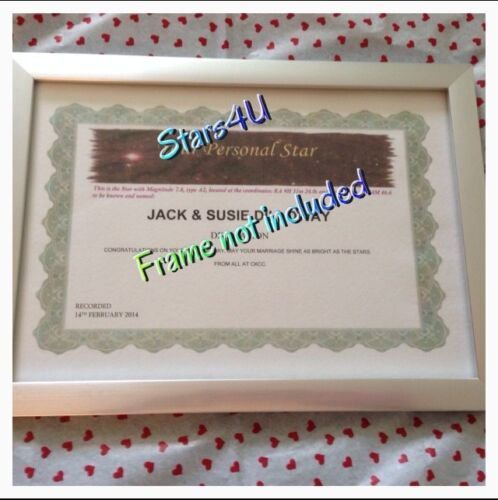 NAME A STAR...CERTIFICATE PERSONALISED GIFT ☆ CHRISTMAS  ☆  SISTER