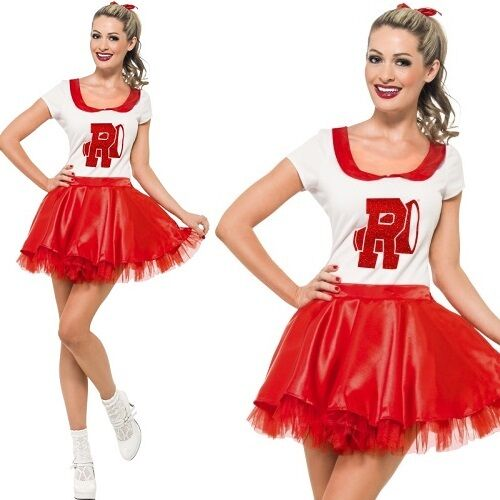 Ladies Sandy Cheerleader Costume Grease Fancy Dress All Sizes S UK 8 - 10 | eBay  sc 1 st  eBay & Ladies Sandy Cheerleader Costume Grease Fancy Dress All Sizes S UK 8 ...