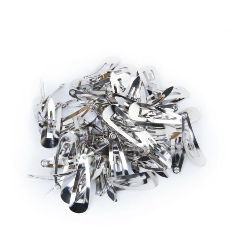 50Pcs Mini Silver Snap Hair Clips 30mm Craft Bow