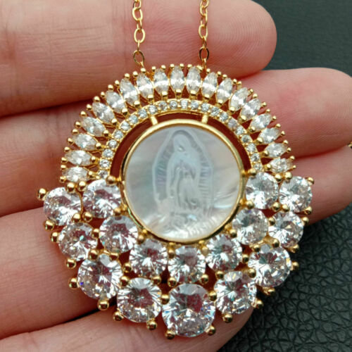 Blanc Shell Cameo Virgin Mary Clear CZ Micro Pave Pendentif Chaîne Collier
