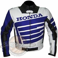 HONDA 9019 Blue Motorbike Protective Motorcycle Jacket Biker Genuine Leather