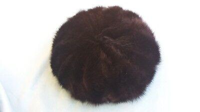 Cappello Da Donna In Visone Scuro Anni '80/90 Vintage Fabbricazione Abile
