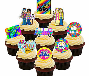 Image Is Loading 60s Party Pack 36 Edible Cupcake Toppers Standup