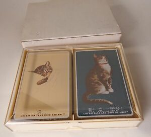 Vintage-Chesapeake-and-Ohio-Railway-Cat-Playing-Cards-Ivory-Color-Case