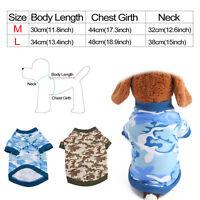 2 Pcs Unisex Clothes Puppy Dog Cat Vest T Shirt Camo Coat Dress Sweater Apparel