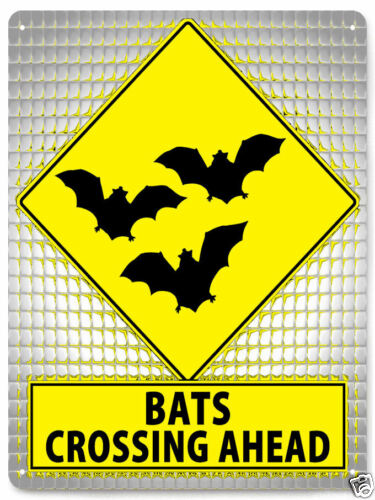 BATS METAL STREET SIGN funny gag gift bat cave mancave boys room wall decor 440